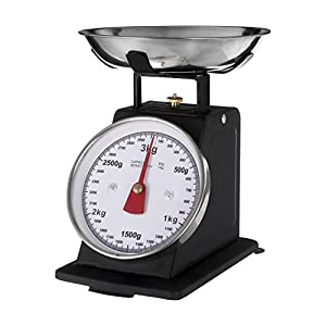 Premier Housewares Retro Style Kitchen Scale with Stainless Steel Bowl, 3 kg - Matt Black