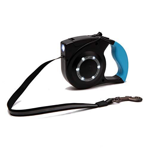 Man9Han1Qxi Reflektierende Hundetraktions-Hundeleine-Haustier-Versorgungsmaterialien der automatischen Ausdehnungs-LED Blue (6 Leder Fuß Hundeleine)