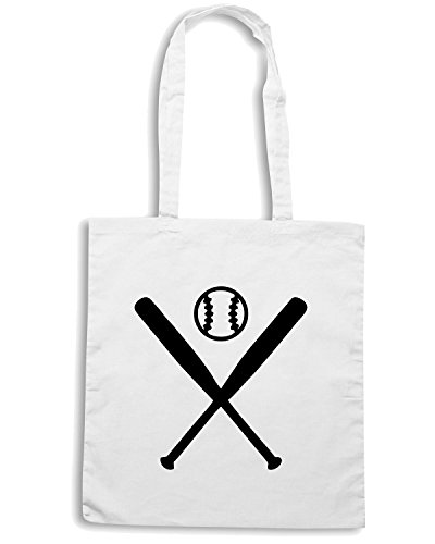 T-Shirtshock - Borsa Shopping SP0135 Two Pitchers Baseball Maglietta Bianco