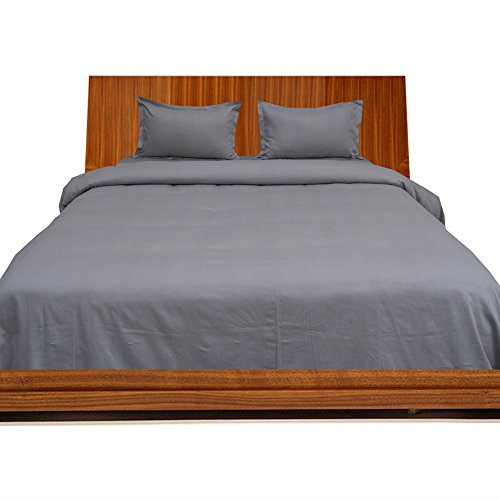 RoyalLinens 600tc 100% ägyptische Baumwolle elegant Finish 4Bettdecke Set Spannbettlaken Solid (Pocket Größe: 35,6cm), Baumwolle, Silver Grey Solid, UK_Small_Single_Long