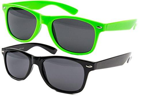 Ciffre 3 er Set EL-Sunprotect Nerdbrille Brille Nerd Sonnenbrille Hornbrille Way Pink Grün Schwarz