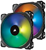 Corsair ML140 PRO RGB LED 140mm PC-Gehäuselüfter (mit Magnetschwebetechnik, PWM, mit Lighting Node und Hub, 2er-Pack) schwarz