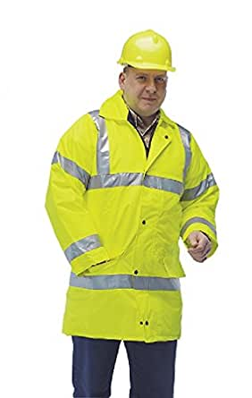 Hi-Visibility Waterproof JacketHeavy Duty 2 Way ZipGiolite 50mm Wide Reflective StripsQuilted Nylon - size S