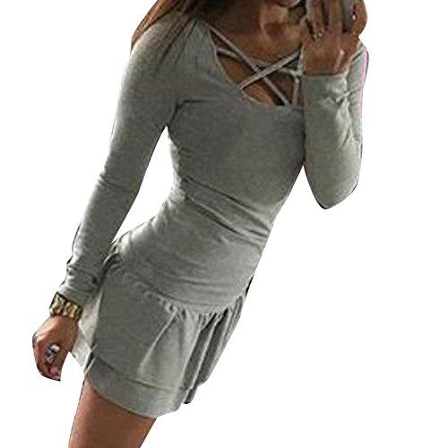 Dihope Femme Printemps Automne T-shirt Slim Fit Col Rond Top à Manches Longues Tee-shirt Casual Haut Loisir Gris