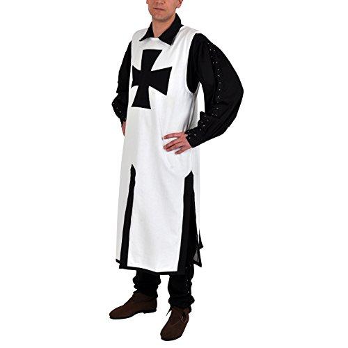 Mittelalter Kostüm: Waffenrock Kreuzritter weiß/schwarz - (Kostüm Templiers)