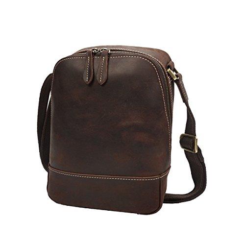 Yy.f Männer Schulter Messenger Bag Tide Retro Männlichen Tasche Die Erste Schicht Aus Leder Tasche Herren Leder Tasche Tasche Normallack Tasche 2 Farbe Brown