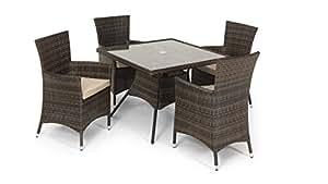 California 5 tlg Essgruppe Garten Möbel Tisch &2 Stühle für die Terrasse