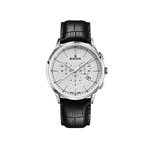 Edox Hommes Chronographe Quartz Montre avec Bracelet en Cuir 10236-3C-AIN