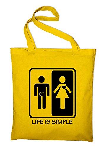 Life is simple Männer Frauen Jutebeutel, Beutel, Stoffbeutel, Baumwolltasche, gelb Gelb