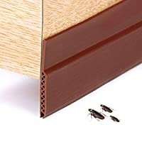 Door Bottom Seal Weather Stripping, Adhesive Under Door Sweep Weather Stripping Soundproof Rubber Bottom Seal Strip Draft Stopper Draught Excluder, 35.8inches