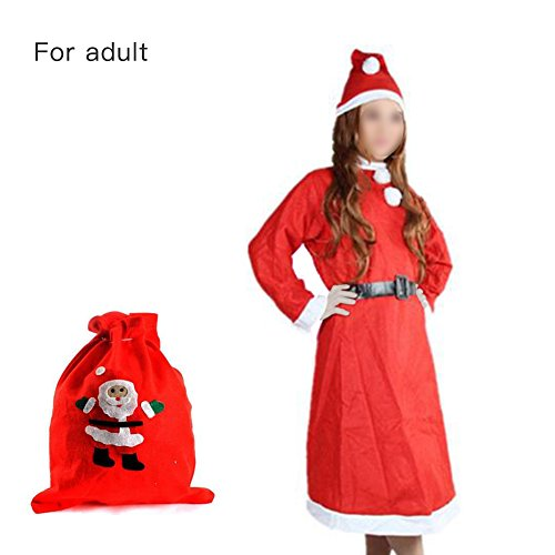 Nicky 5-teilig Gr. XXL Weihnachtsmann Kostüm für Frau Santa Claus Weihnachtsmannkostüm Nikolaus Santakostüm Weihnachten Nikolauskostüm mit Mütze Kleiderrock Gürtel Handschuh Geschenktasche