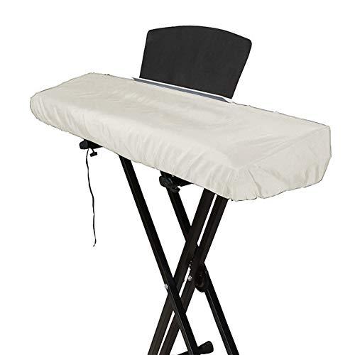 QEES Tastatur-Abdeckung für 61/88 Tasten, elastisch, 61/88 Noten, Tastatur-Abdeckung, elektrisch/digitales Piano, dehnbar Adjustable size, both fits 61/88 Key keyboard weiß
