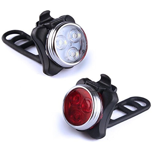Kungix Bike Lights Set Headlight Taillight Combinations Rechargeable Bicycle Cycling Front and Rear Light with Waterproof 2 USB Cables 4 Light Modes