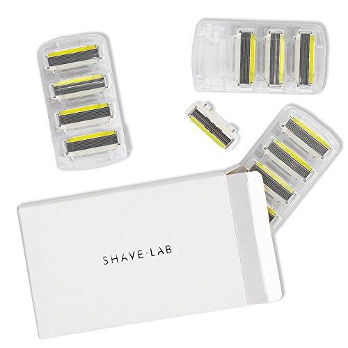 SHAVE-LAB - 12 Rasierklingen für Nassrasierer - (12x P.L.6 Klinge für Frauen mit 6 Lamellen und Aloe Vera Feuchtigkeitsstreifen)