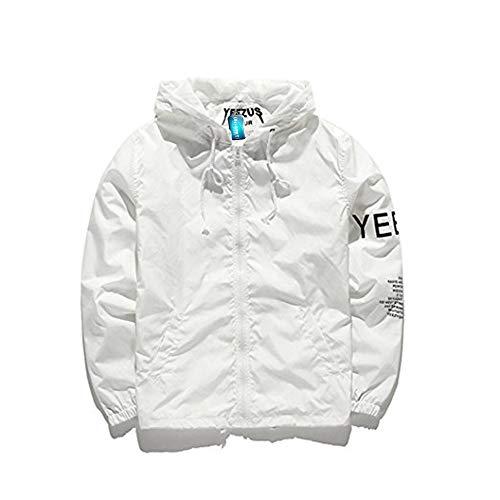Mode Windbreaker, Windjacke Kapuzenjacke Streetwear Unisex Damen Herren    Jungen Mädchen Reißverschluss Jacke, Herbst Frühling (Weiß, XL) 5d13d6b8bd