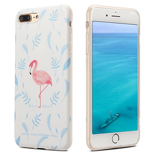 Coque iPhone 7 Plus , Coque iPhone 8 Plus , Etui Housse en Silicone Gel TPU de Protection Case Cover Souple Flexible Ultra Mince avec Cerf motif Mode Dessin pour Apple iPhone 7 Plus / iPhone 8 Plus (5 Bleu Feuilles et Flamingo