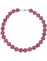 Korallenschmuck (Halskette) Schaumkoralle Halskette Kugeln mit Perlseide geknotet Verschluss 925er Sterling-Silber
