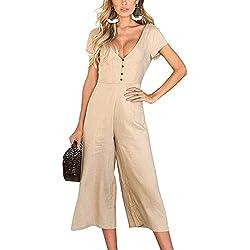 Minetom Femme Combinaison Été Manches Courtes Taille Haute Jumpsuit Sexy Pantalons Large à Jambes Combinaison Kaki FR 36