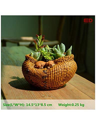 PENFJ Vase Kollektion Everyday Sleeping Cat Bamboo Basket Wohnaccessoires Gartendekoration & Blumentöpfe Dekoriert