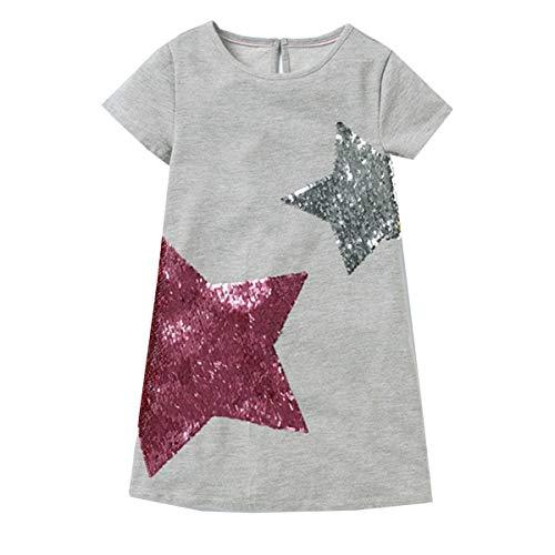 DXTON Mädchen Kleider Sommer Kleid 100% Baumwolle Kurzarm Süße Kinder Kleidung Grau777 7T -
