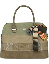 David Jones - Women Bugatti Handbag - Ladies Bowling Bag Multicolor Stripes  Shoulder Bag - Nubuck aa8b29fc49538