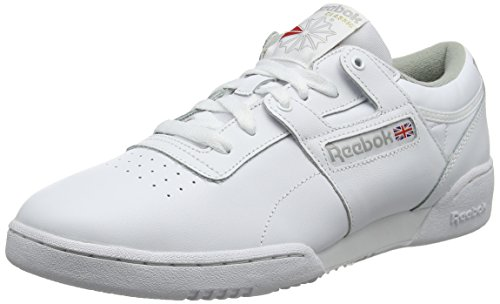 Reebok workout low, scarpe da fitness uomo, bianco (int/white/grey 000), 41 eu