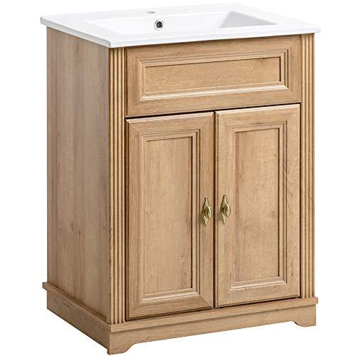 Lomadox Vintage Landhaus 60 cm Einzel Waschplatz ● Waschtisch-Unterschrank inkl Keramikwaschbecken ● Holzoptik Eiche Nb. ● 2 Türen, 1 Einlegeboden -