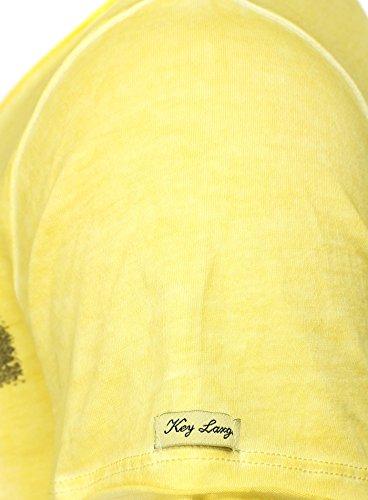 Key Largo Herren T-Shirt EVIDENCE Vintage Print mit Nieten Tattoo und Backprint Gelb