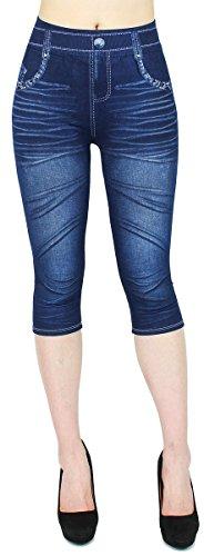 Capri Leggings Damen Jeggings 3/4 Leggings in Jeans Optik - CLG062-064 (3LG137 | Gr.36-40)