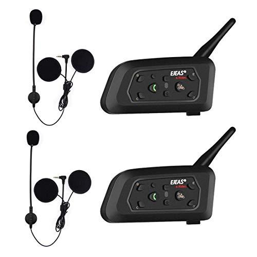 OKEU V6 Pro Casco Interfono Moto 1200M, Moto Auricolare Bluetooth, Interfono Bluetooth per moto fino a 6 riders, casco interfono bluetooth con inferiore del rumore, 2 Pezzo