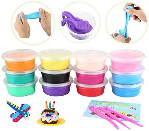 Knete Set ,Tatuer 12 Stück Mitgebsel Springknete Kinderknete Kinderspielzeug Babyspielzeug Lernspiel Geschenk für Kindergeburtstag Handgemachtes Lernen