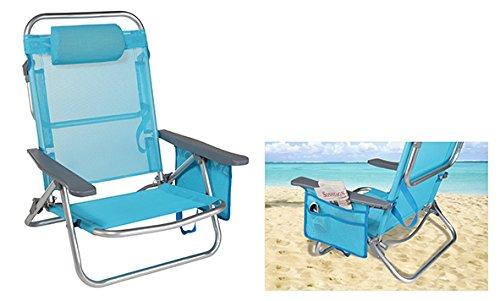 Komfortabler Strandstuhl mit mehrfach verstellbarer Rückenlehne, Kopfpolster und Seitentasche