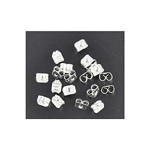 10 Stück Kupfer Ohrstopper Schmetterling Versilbert 5mm x 4mm