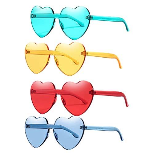 TOYANDONA 12 Stück Herz Liebe Sonnenbrille randlos transparent Candy Farbe Sonnenbrille Party Eyewear Cosplay Requisiten für Mädchen Frau