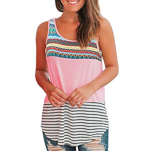 iHENGH Damen Top Bluse Bequem Lässig Mode T-Shirt Sommer Blusen Frauen O Neck T-Shirt Ärmellos Blumendruck Lässige Tops Bluse Weste Tank(Rosa, 2XL)
