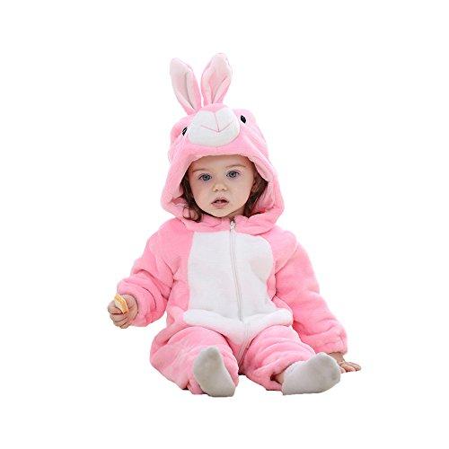 Harson&Jane Baby Strampler Winter Mit Kapuze Strampelhöschen Tier Flanell Warm Overall fürs Kleinkind (Rosa Kaninchen, - Halloween-kostüm-ideen Mutter Für Baby Und