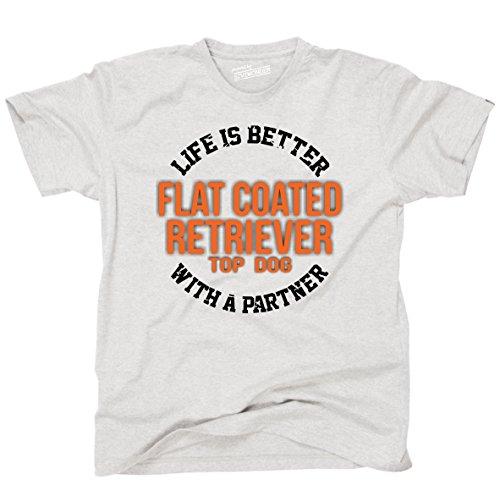 Siviwonder Unisex T-Shirt FLAT COATED RETRIEVER - LIFE IS BETTER PARTNER Hunde Ash