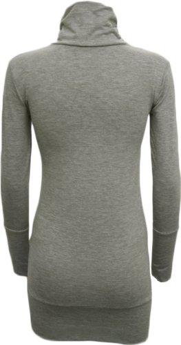 WearAll - Haut simple à manches longues avec un col roulé - Hauts - Femmes - Tailles 36 à 42 Gris Clair