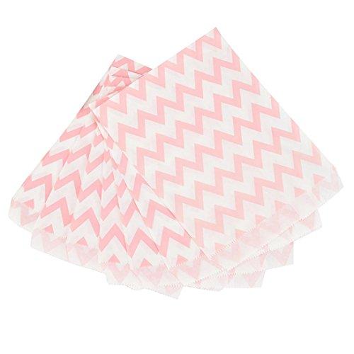 smittel sicher Papier Cookie Bag Candy Favor Treat Taschen für alle Parteien Muster Papiertüten grüne Partei liefert Einweg-Lebensmittel-Taschen (Pink) (Candy Bags)