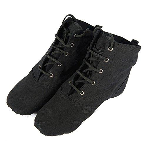 Wgwioo Modern Dance Shoes Fase Di Balletto Lace-Up Boot Morbida Sole Per Gli Uomini Donne Piccolo Bambino Lace-Up Shoes Ragazze Canvas Jazz Dance Boots Elastici Black