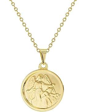 In Season Jewelry Neugeborenes Baby - Halskette Schutz Engel Medaille 18k Vergoldet 40cm