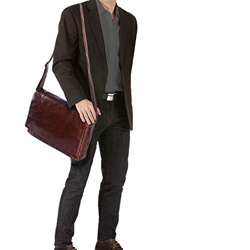 STILORD Rick Borsa Vintage a tracolla in pelle da uomo & donna Porta documenti PC 15.6 Messenger per Università e Ufficio vera pelle, Colore:cognac lucente marrone - cioccolata