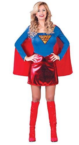 Costume vestito abito travestimento carnevale adulto donna super eroina, superwoman - taglia m (38-40)