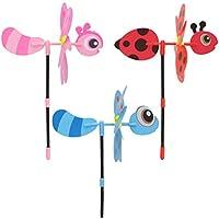 Exing 3D Bee Wind Cilindro de Windmühlen Pin Wheel Wind Parte Wind Ruedas, plástico,
