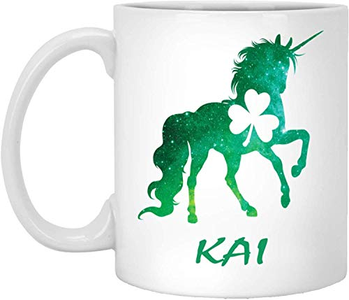 Tea Mug, White, Kai Mug Kai Unicorn Personalized Custom Name 11 Oz White Coffee Cup St Patricks Day Gift