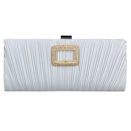 Damara® Damen Strass Dekorstion Clutch Abendtasche Mit Faltenwurf Silber