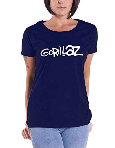Gorillaz T Shirt Classic Band Logo Nue Offiziell Damen Skinny Fit Navy Blau (Skinny-band-t-shirts)