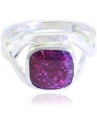 48feb112d433 preciosa piedras preciosas cuadrados facetados indainruby anillos - plata  sólida indainruby rojo anillo de piedras preciosas