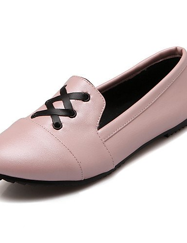 ZQ gyht Scarpe Donna - Mocassini - Tempo libero / Casual - Punta arrotondata - Piatto - Finta pelle - Nero / Blu / Rosa / Bianco , pink-us8 / eu39 / uk6 / cn39 , pink-us8 / eu39 / uk6 / cn39 white-us6 / eu36 / uk4 / cn36