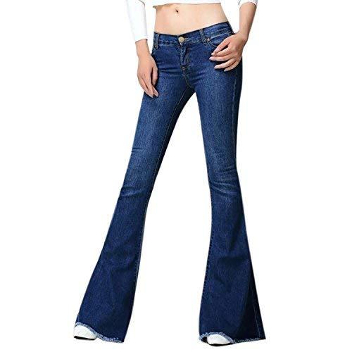 Lisli Damen Jeans 60er 70er Vintage Stil Bootcut Schlaghose Casual Stretch Classic Weite Jeanshose Hüftjeans (EU 44=Etikett 31, Dunkelblau)